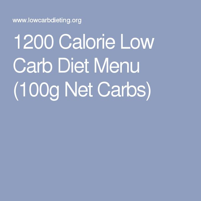 1200 Calorie Low Carb Diet Menu (100g Net Carbs)