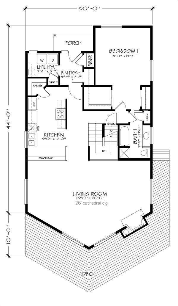 First Floor Plan of A-frame   House Plan 57438. I think I would try to put a small, full bath (maybe 5x7) into the storage area in the basement. That way you could use it as another guest room, etc.