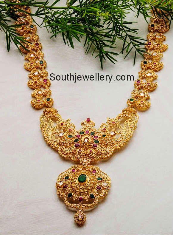 uncut diamond mango necklace