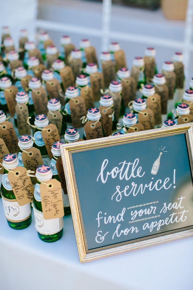 Mini Pellegrino Bottle Wedding Place Cards 125
