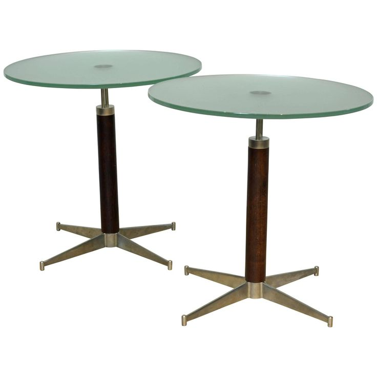 Mid Century Jacobsen Style Aluminum, Rosewood And Frosted Glass End Tables,  Pair