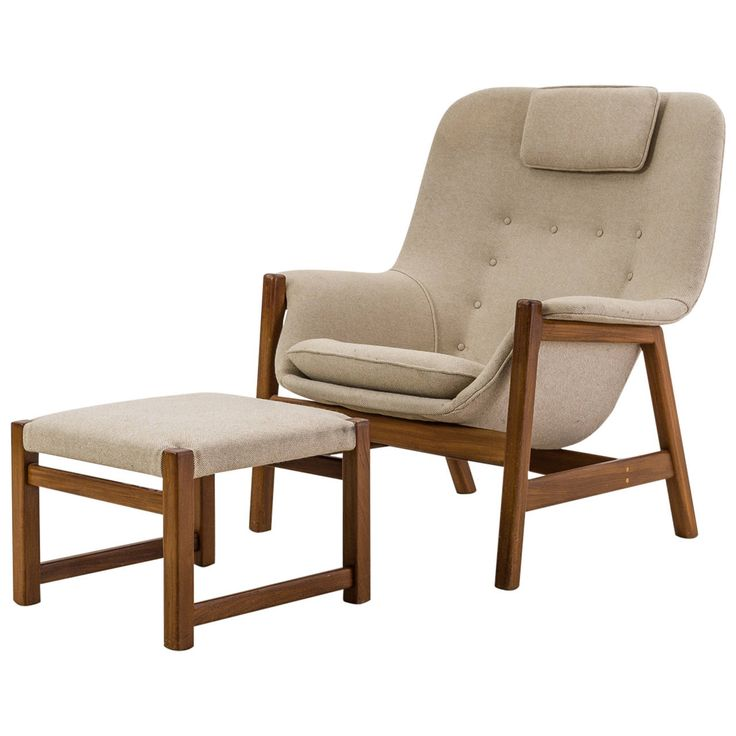 Carl Gustav Hiort af Ornäs Lounge Chair with Ottoman Finland 1950s