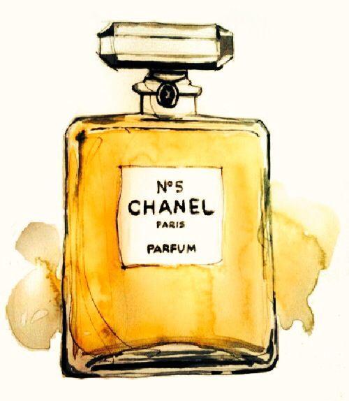 N 5 Chanel perfume art yellow watercolors