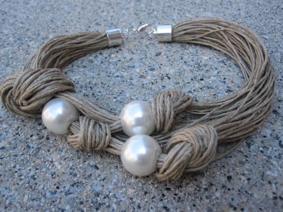 Elegant Linen Necklace Desing Knots XL Fantasy Pearls by espurna88