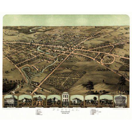 Old Map of Pontiac Michigan 1867 Oakland County Canvas Art - (36 x 54)