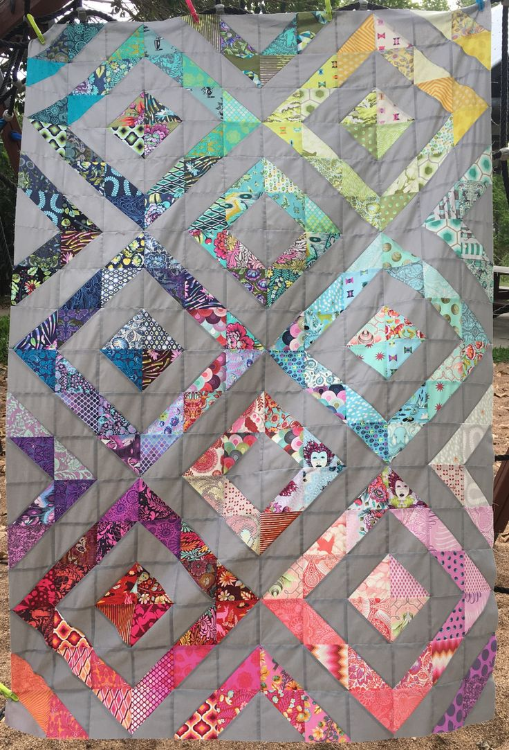 Quilt top at Manic Mumday for the Tula Pink Charm Swap Quilt Along run by Ms Midge.