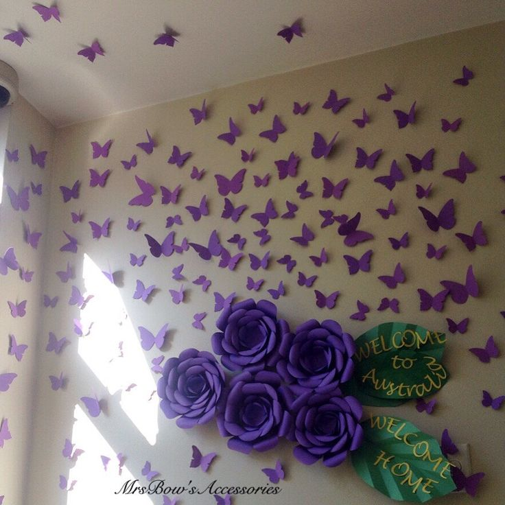 Wall decor - set of 100 cardstock butterflies   https://www.etsy.com/au/listing/240592479/paper-butterflies-wall-installation-wall