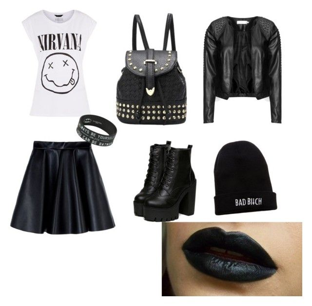 """рокерский наряд✊"" by nazrinmansimli ❤ liked on Polyvore featuring MSGM, Zizzi and Kill Brand"