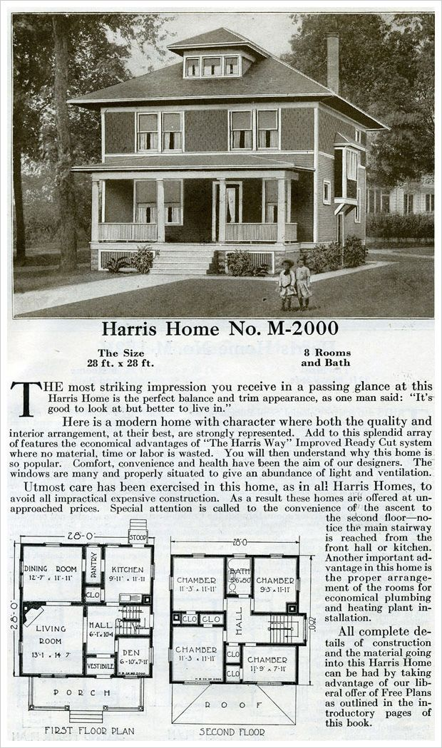 Competing for attention during the early part of the 20th century against the bungalow style, was the American Four Square. Basically a box with a pyramidal roof, this Harris plan is one of their takes on this ubiquitous style. This home offers a vestibule and tiny den that mark it as slightly different from other models.