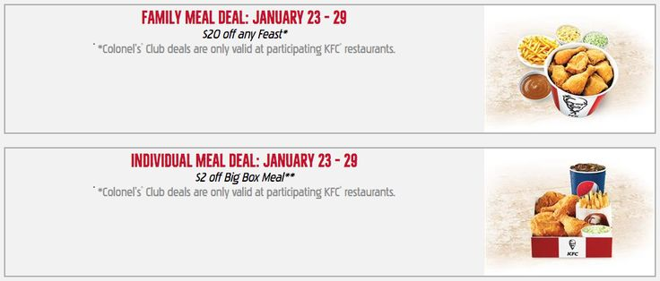 KFC Canada Colonels Club Weekly Deals: Family Meal Deal: 20% off Any Feast  Individual Meal Deal: $2 off Big B... http://www.lavahotdeals.com/ca/cheap/kfc-canada-colonels-club-weekly-deals-family-meal/167227?utm_source=pinterest&utm_medium=rss&utm_campaign=at_lavahotdeals