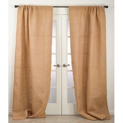 "Saro Burlap Jute Farmhouse Natural Lined Curtain Panel Size: 42"" W x 108"" L, Color: Natural"