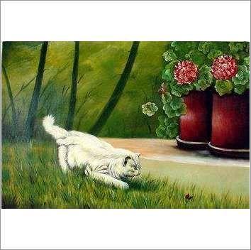 Original Oil On Canvas 'Geoffrey with Geraniums' on eBid United Kingdom