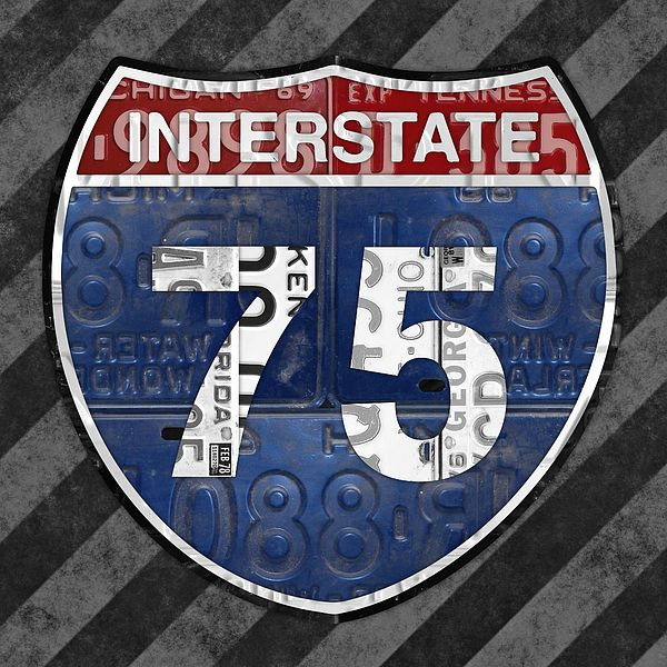 Interstate 75 Highway Sign Recycled Vintage License Plate Art On Striped Concrete By Design Turnpike