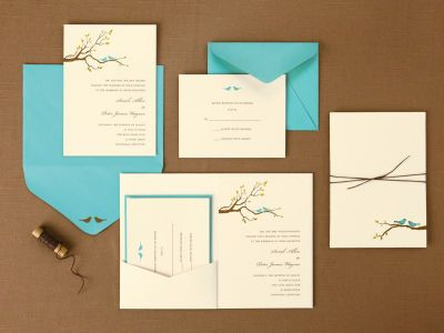 BRIDES® Love Birds Pocket Invitations