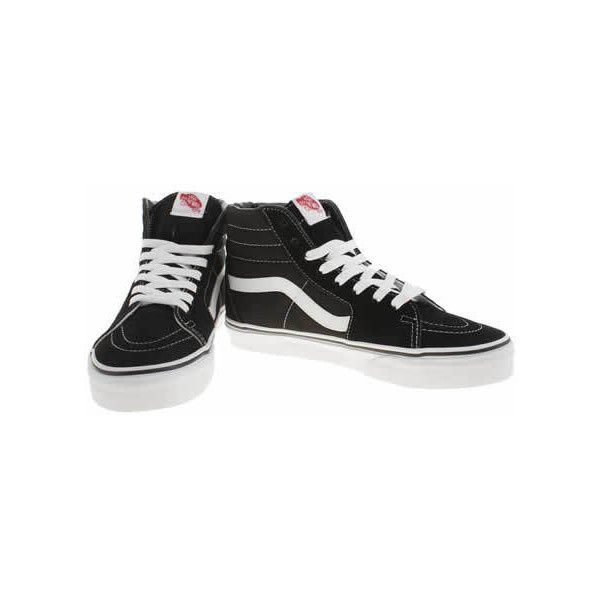 Women's Black & White Vans Sk8-Hi Suede Trainers | schuh (€63) ❤ liked on Polyvore featuring shoes, sneakers, fleece-lined shoes, black and white shoes, black white sneakers, vans trainers and vans shoes