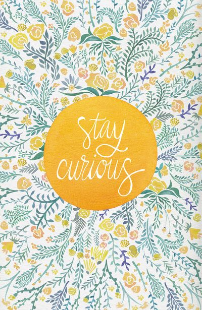 stay curious, lettering, design, quote, outdoors, type, typography, colour, nature, drawing, print, pattern