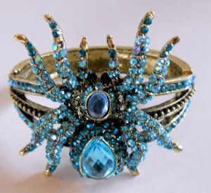 BLING Blue Spider Bug Cuff Bracelet with Blue Rhinestone Crystals appx 7 inch around Blue Skies Plus. $29.99