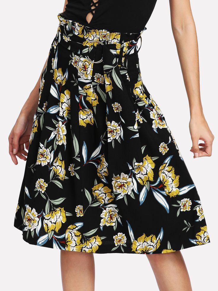 Shop Self Tie Floral Skirt online. SheIn offers Self Tie Floral Skirt & more to fit your fashionable needs.