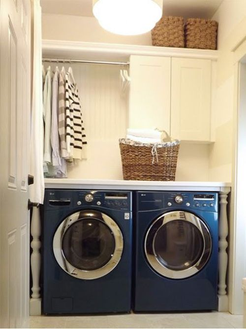 Fun detail with newel posts and counter and air drying laundry room Yes, love the hanging space with closed storage, and, of course, those gorgeous legs.
