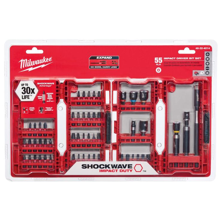 Milwaukee Shockwave Impact Duty Steel Driver Bit Set (55-Piece)-48-32-4014 - The Home Depot///////////$39.97