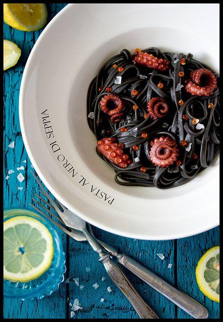 Pasta al nero di seppia + polpo | Flickr - Photo Sharing!