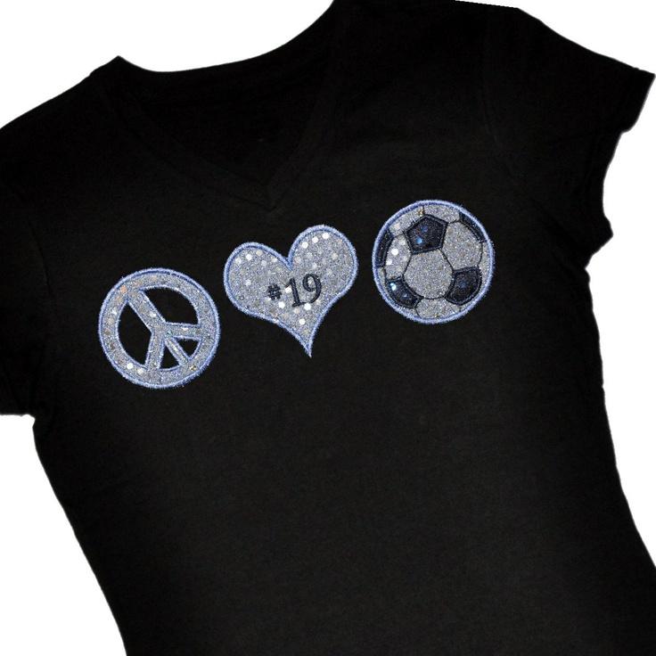 Custom Peace, Love and SOCCER Sequin Applique Shirt. $24.00, via Etsy.