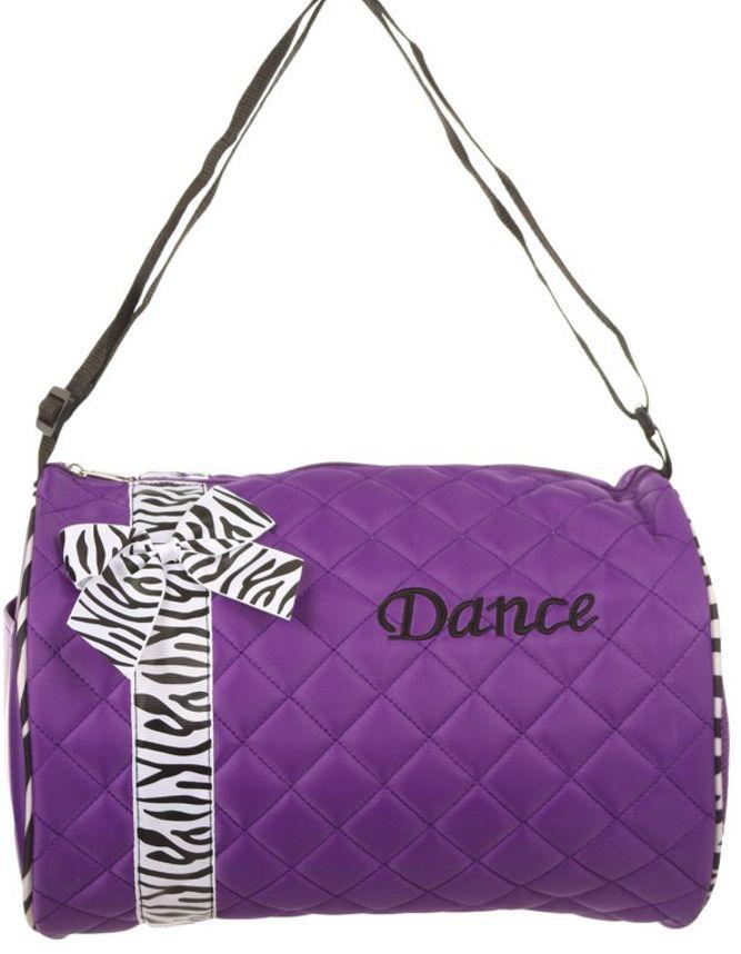 Z-Purple Duffel Bag with Zebra Print Ribbon