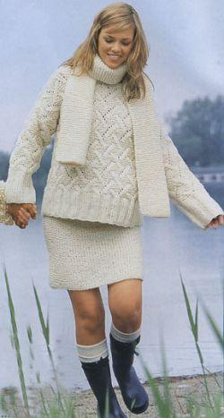 Пуловер, шарф и юбка из небеленной пряжи