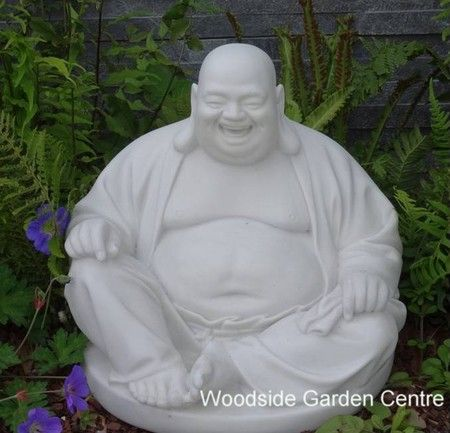 Large Marble Resin Laughing Buddha Home Or Garden Ornament