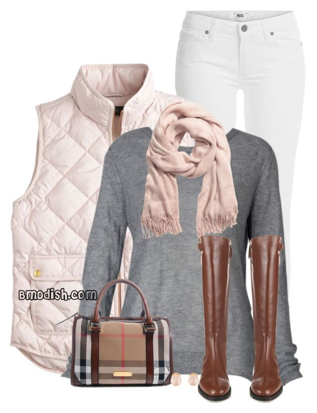 """""""Pink Quilted Vest"""" by wulanizer ❤ liked on Polyvore featuring Paige Denim, J.Crew, H&M, Burberry and Kenneth Jay Lane"""