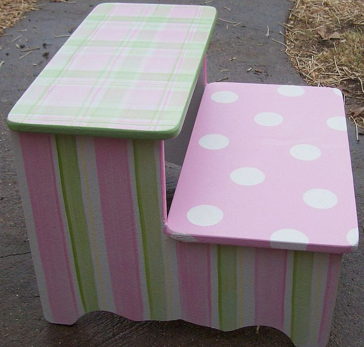 Step Stool Custom Your Colors PINK GREEN Childrens  Furniture Step Stool Kids by spoiltrottn on Etsy https://www.etsy.com/listing/180132566/step-stool-custom-your-colors-pink-green