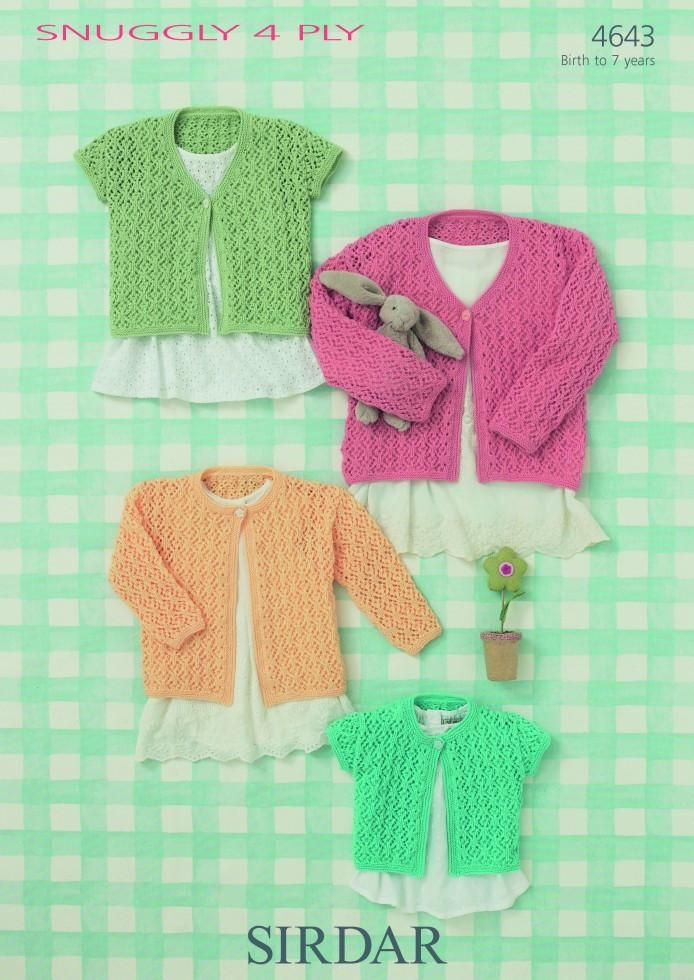 Sirdar Baby Cardigans 4 Ply Knitting Pattern 4643 (With ...