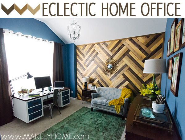 Love this eclectic home office from Makely Home for Girls - so many great DIY ideas! featured at eclecticallyvintage.com