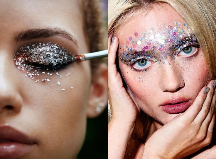 Unicorn costume for women and a glamorous make-up with sparkles