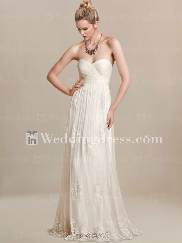 Simple Hawaii Wedding Gown with Lacy Skirt BC270