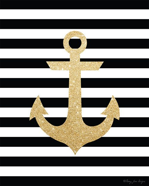 Gold Glitter Anchor Printable Art