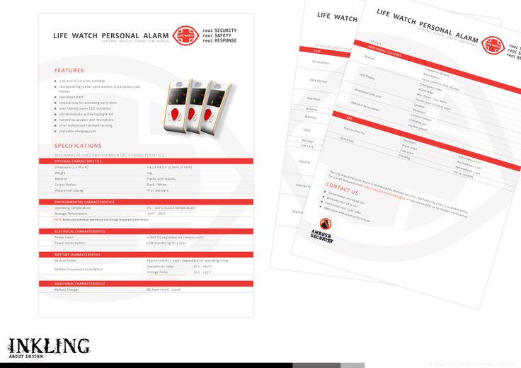 data/spec sheet for LIFE WATCH PERSONAL ALARM by Inkling About Design www.inklingaboutdesign.com #graphicdesign #inkling #datasheet #branding #Toowoomba #Queensland #specs #lifewatch *logo and product image supplied