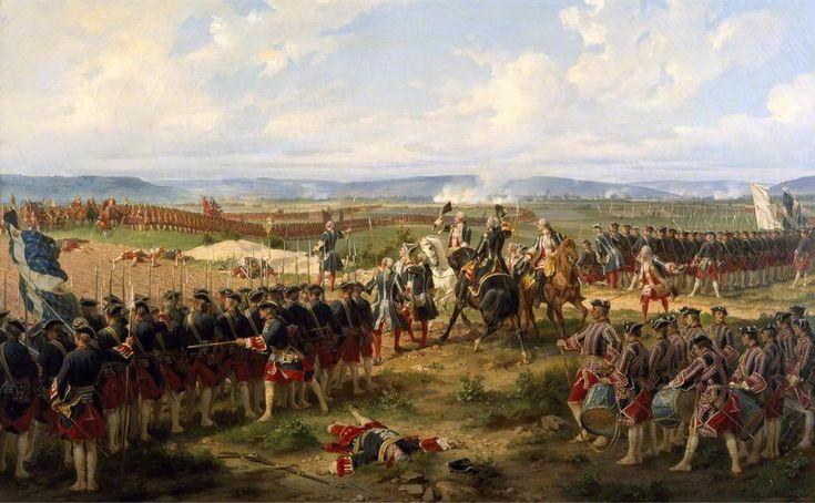 Das berühmteste Bild von der Schlacht Lord Charles Hay vom 1st Regiment of Guards im Hintergrund und die Garde-Française unter Comte d'Auteroche im vordergrund.