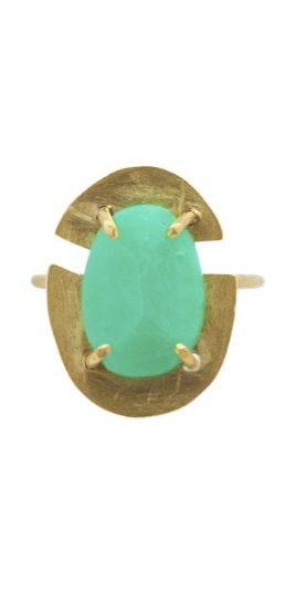 This handmade Chrysoprase Prong Set Crest Ring by Mineralogy is beautiful.