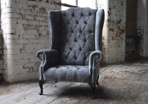 Handmade Grey Boss Velvet Chesterfield Chair