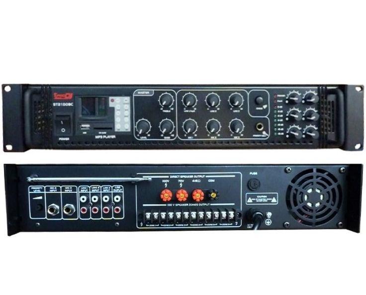 PRO DJ ST-2180-BC amplificador de pa. 180 w. 3 in mic, 1 aux, 1 out rca. eq a 2 bandas. display, radio am/fm. 6 zonas con volumen. lector usb/sd. incluye control remoto.