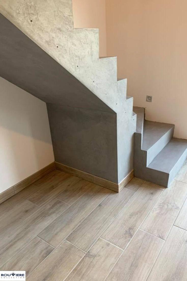 Revetement D Un Escalier Tournant En Beton Cire En 2020 Escalier Beton Pallier Escalier Escalier Beton Cire