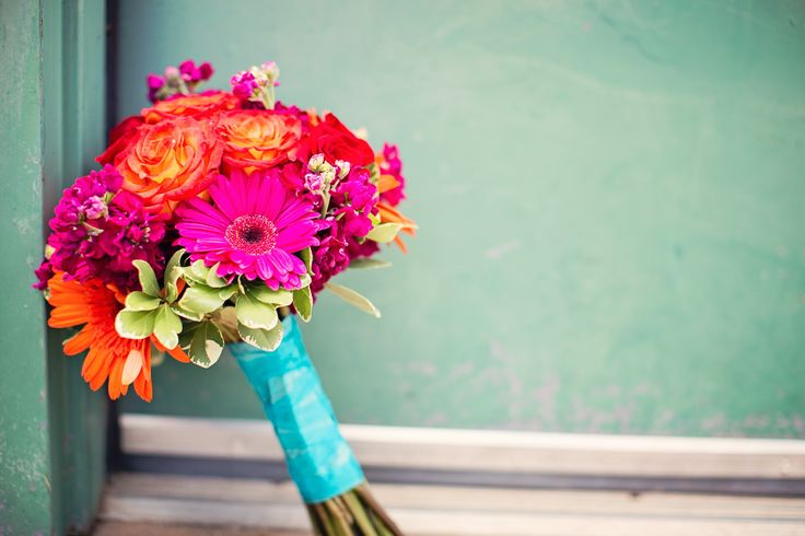 Coral and Aqua Wedding Flowers | Wedding (flowers, aqua, bouquet, rustic, coral, colorful, real wedding ...