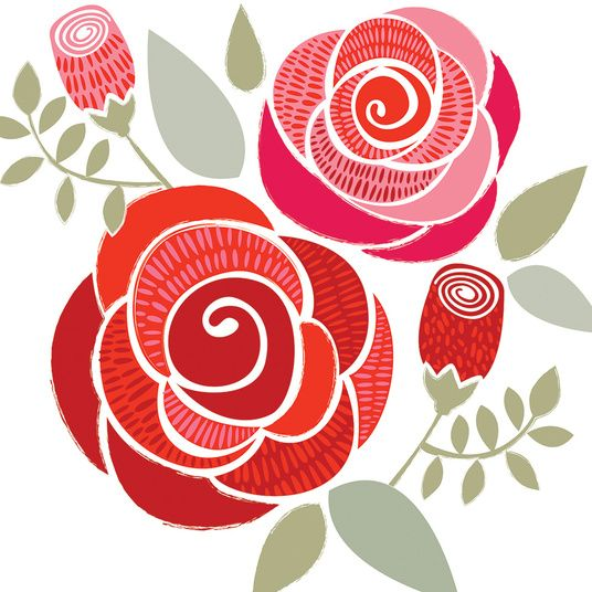 Simple swirly roses - these would be fun to paint with watercolors then fill in with tangles & doodles