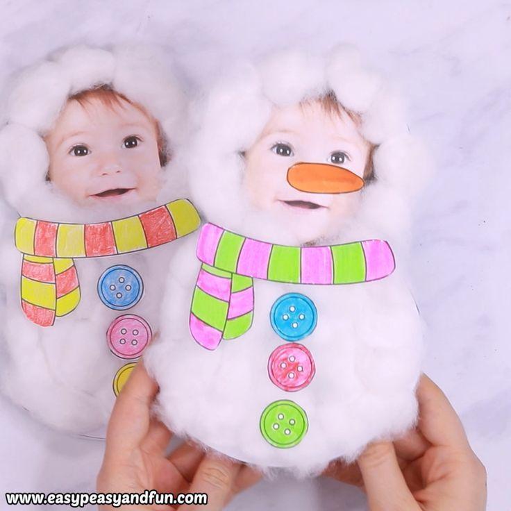 Wattebausch Schneemann Basteln für Kinder – DIY Weihnachtskarte – Weihnachtsbaum Anhänger