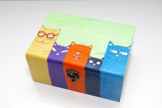 Holzkiste mit Cristmas Katzen BOX Cat Gemälde gemalt handbemalten Holzbox Schmuck Kasten Childrens Andenken Feld Cat Andenken Kasten aus Holz Kind