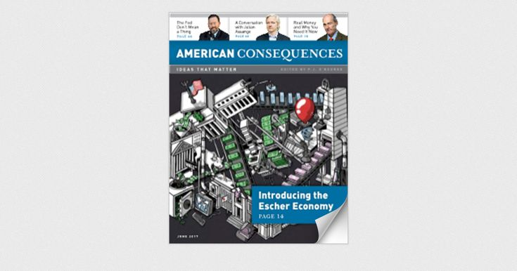 This issue, we take on the Federal Reserve, with contributions from NYT bestselling author P.J. O'Rourke and billionaire underground news mogul Bill Bonner. Plus... What's about to happen before the next big crash... the new Escher Economy... and don't miss the interview with WikiLeaks' Julian Assange.