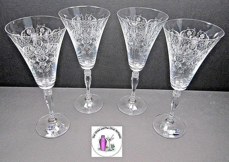 Handcrafted Bohemia Crystal Cut Floral Design Trumpet Shape Flared Rim Stemware #Bohemia
