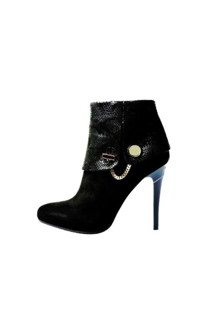 Elegante Donna Exclusive Collection - Simply Elegant Bootie! Heel 11cm (4.3 inches). Real Black Swarovski stones on the accessories.  Inside protected zippers. Fit slightly tight intended. 100% Made in Italy   Firenza Nero Bootie  by Marino Fabiani. Shoes - Booties Canada