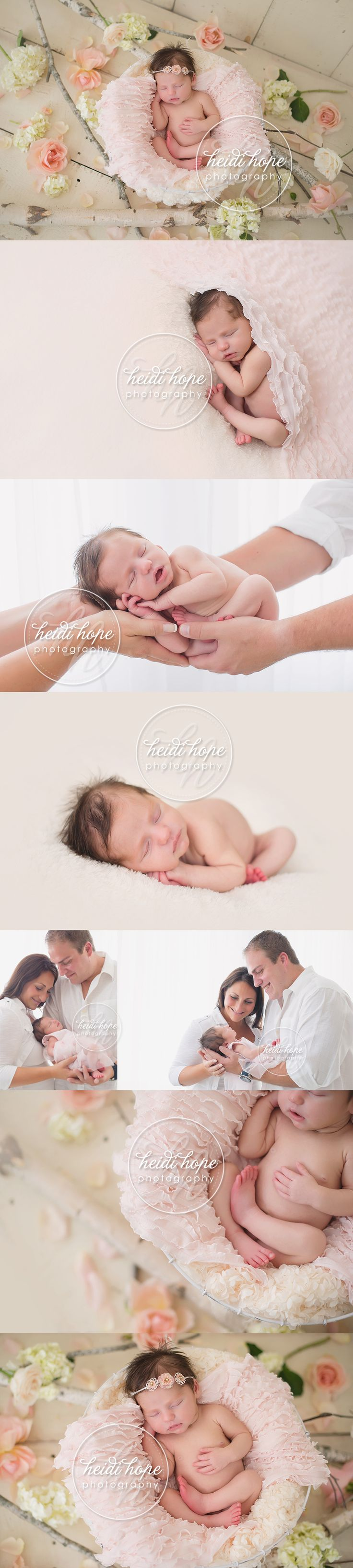 newborn baby girl with pink flowers. love the light colors and flowers. Mostly love just the photos of the newborn girl only